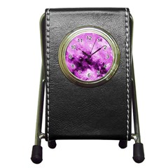 Bright Pink Abstract Pen Holder Desk Clocks by timelessartoncanvas