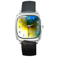 Watercolor Abstract Square Metal Watches by timelessartoncanvas