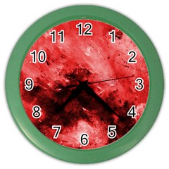 Red Abstract Color Wall Clocks by timelessartoncanvas