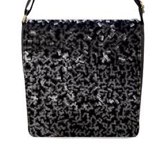 Gray Cubes Flap Messenger Bag (L)  by timelessartoncanvas