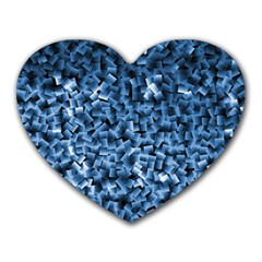 Blue Cubes Heart Mousepads by timelessartoncanvas