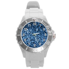 Blue Cubes Round Plastic Sport Watch (l) by timelessartoncanvas