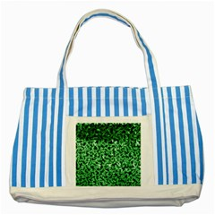 Green Cubes Striped Blue Tote Bag  by timelessartoncanvas