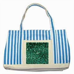 Teal Cubes Striped Blue Tote Bag  by timelessartoncanvas