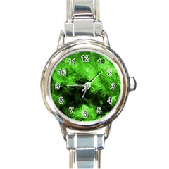 Bright Green Abstract Round Italian Charm Watches