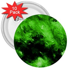 Bright Green Abstract 3  Buttons (10 Pack)  by timelessartoncanvas