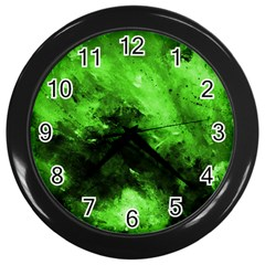 Bright Green Abstract Wall Clocks (black) by timelessartoncanvas