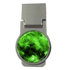 Bright Green Abstract Money Clips (round)