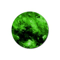 Bright Green Abstract Rubber Coaster (round)