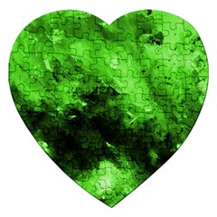 Bright Green Abstract Jigsaw Puzzle (heart)