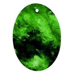 Bright Green Abstract Oval Ornament (two Sides)