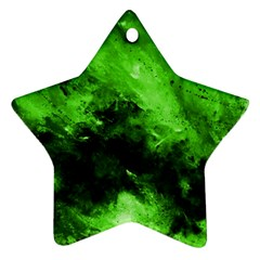 Bright Green Abstract Star Ornament (two Sides)