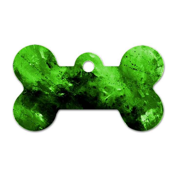 Bright Green Abstract Dog Tag Bone (One Side)
