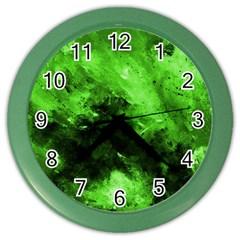 Bright Green Abstract Color Wall Clocks