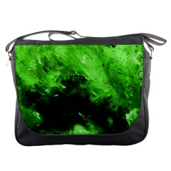 Bright Green Abstract Messenger Bags