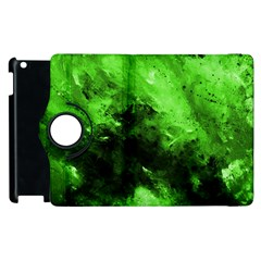 Bright Green Abstract Apple Ipad 2 Flip 360 Case