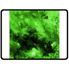 Bright Green Abstract Double Sided Fleece Blanket (large)