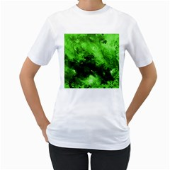 Bright Green Abstract Women s T Shirt (white)