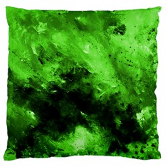 Bright Green Abstract Large Flano Cushion Cases (two Sides)
