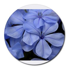 Bright Blue Flowers Round Mousepads by timelessartoncanvas