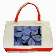 Bright Blue Flowers Classic Tote Bag (red)  by timelessartoncanvas