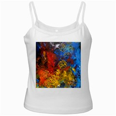 Space Pollen White Spaghetti Tanks by timelessartoncanvas