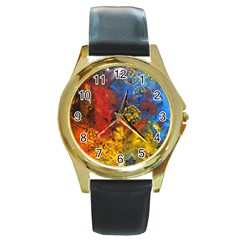Space Pollen Round Gold Metal Watches by timelessartoncanvas