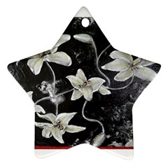 Black And White Lilies Ornament (star)  by timelessartoncanvas
