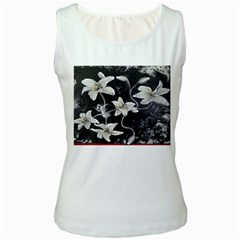 Black and White Lilies Women s Tank Tops by timelessartoncanvas