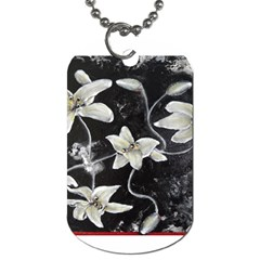 Black And White Lilies Dog Tag (two Sides) by timelessartoncanvas