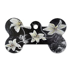 Black And White Lilies Dog Tag Bone (two Sides) by timelessartoncanvas