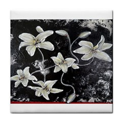 Black And White Lilies Face Towel by timelessartoncanvas