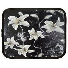 Black And White Lilies Netbook Case (xl)  by timelessartoncanvas