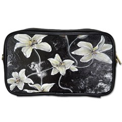 Black And White Lilies Toiletries Bags by timelessartoncanvas