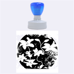 Black And White Lilies Rubber Round Stamps (large)