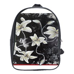 Black And White Lilies School Bags (xl)  by timelessartoncanvas