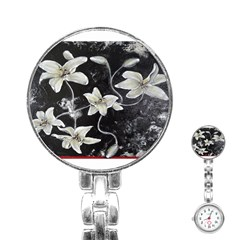 Black And White Lilies Stainless Steel Nurses Watches by timelessartoncanvas