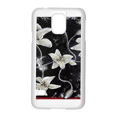 Black And White Lilies Samsung Galaxy S5 Case (white) by timelessartoncanvas