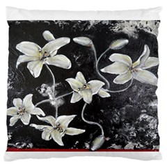 Black and White Lilies Standard Flano Cushion Cases (One Side)  by timelessartoncanvas