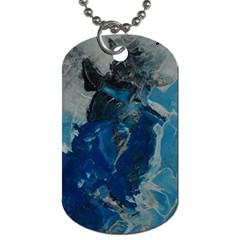 Blue Abstract Dog Tag (two Sides) by timelessartoncanvas