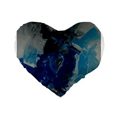 Blue Abstract Standard 16  Premium Heart Shape Cushions by timelessartoncanvas
