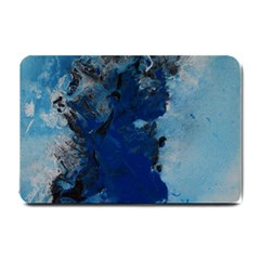 Blue Abstract No 2 Small Doormat  by timelessartoncanvas