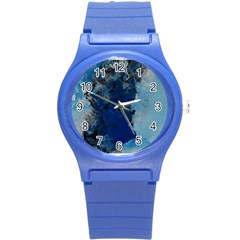 Blue Abstract No 2 Round Plastic Sport Watch (s) by timelessartoncanvas