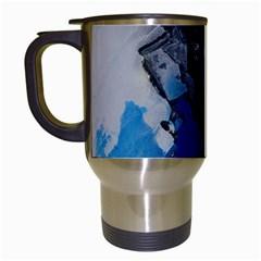 Blue Abstract No 3 Travel Mugs (white)