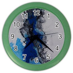 Blue Abstract No 3 Color Wall Clocks by timelessartoncanvas