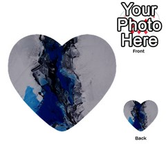 Blue Abstract No 3 Multi Purpose Cards (heart)  by timelessartoncanvas