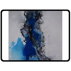 Blue Abstract No 3 Fleece Blanket (large)