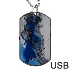 Blue Abstract No 3 Dog Tag Usb Flash (two Sides)  by timelessartoncanvas