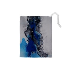 Blue Abstract No 3 Drawstring Pouches (small)  by timelessartoncanvas