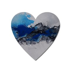 Blue Abstract No 4 Heart Magnet by timelessartoncanvas